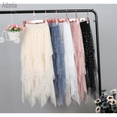 チュール スカート 膝丈 不規則チュール 重ねボリュームスカートキラキラ ビーチスカート 夏デート美品レースドレス5色
