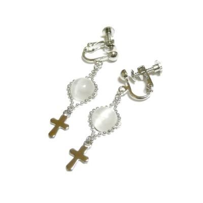 セレナイトと小さな十字架のイヤリング