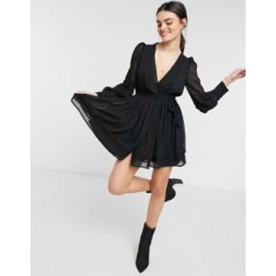 エイソス レディース ワンピース トップス ASOS DESIGN lace insert wrap mini dress in textured black Black