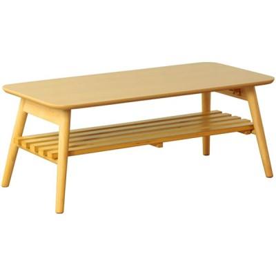 岩附 IW-4090-NA 折りたたみテーブル chouchou/シュシュ 棚付きタイプ(ナチュラル) (IW4090NA)