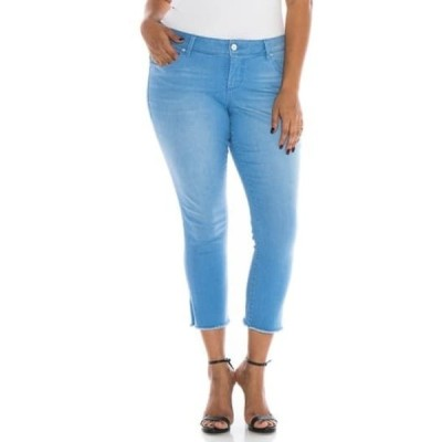 スリンクジーンズ レディース デニムパンツ ボトムス Frayed Cuff Jeans (Plus Size) CLOE