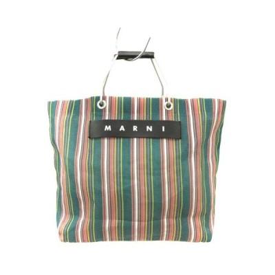 【中古】マルニ MARNI バッグ トート ハンド フラワーカフェ ショッピング ストライプ ロゴ 緑 /YI33 レディース 【ベクトル 古着】