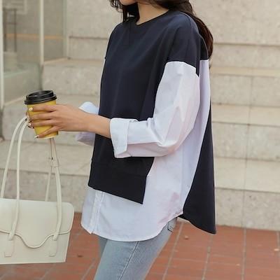 [chic fox] いろんなコーデに使えて便利なスウェット切り替えシャツ