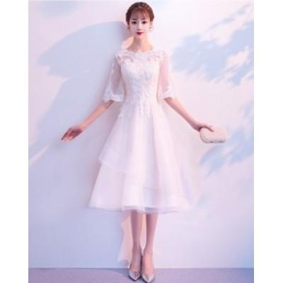 パーティードレス ミディアムドレス 白 ワンピース 披露宴 結婚式 二次会 花嫁ドレス ウエディングドレス 袖あり【ミディ丈】
