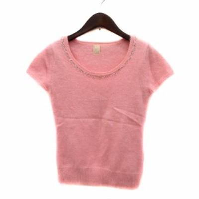 【中古】エフデ ef-de ニット セーター 半袖 スパンコール アンゴラ 9 ピンク /MN レディース