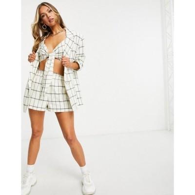 エイソス レディース ジャケット&ブルゾン アウター ASOS DESIGN washed double breasted linen suit blazer in grid check Check