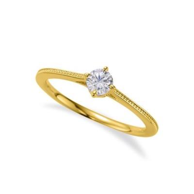 指輪 18金 イエローゴールド 天然石 ミル打ちラインの一粒リング 主石の直径約3.8mm ソリティア 四本爪留め K18YG 18k 貴金属 ジュエリー レディース メンズ