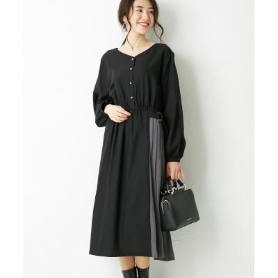 微起毛素材異素材切替ワンピース (ワンピース)Dress