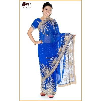 送料無料 サリー 民族衣装 ウェディングドレス 結婚式 (一点物)孔雀の羽刺繍の婚礼用ゴージャス