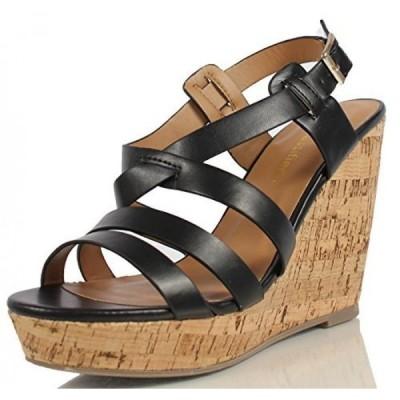 シティークラッシフィード レディース パンプス City Classified Women's Danbury Leather Strappy Cork Wedge Heels