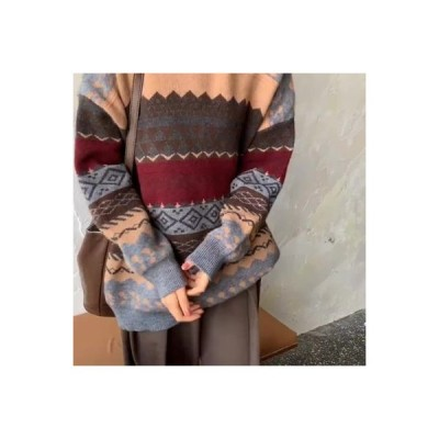 【送料無料】韓国風 レトロ 色のストライプをトレンド アウトドア ニットのセーター 女 ルース   346770_A63863-1861198