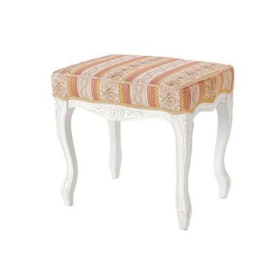 スツール/オットマン(足置き) ローズ色ストライプ柄布張り ホワイト色 伝統的猫脚、クラシックデザイン