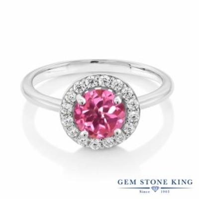 指輪 リング レディース 1.5カラット 天然 ミスティックトパーズ (ピンク) シルバー925 ヘイロー 大粒 細身 天然石 金属アレルギー対応