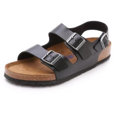 ビルケンシュトック メンズ サンダル シューズ・靴 Amalfi Leather Soft Footbed Milano Sandals Black