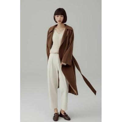 ロングコート コート アウター レディース ダブルフェイス キレイめ ゆったり 羽織り ロング丈  ブラウン