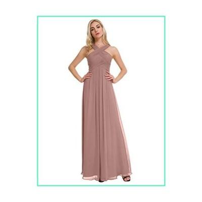 Alicepub Crisscross High-Neck Bridesmaid Dresses Chiffon Long Formal Evening Dress for Special Occasion, Silver Pink, US12並行輸入品
