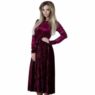 レディースファッションツ 2018秋冬ベルベットドレス女性のファッションソリッドサッシュレギュラーロングプリーツセクシーなドレスの