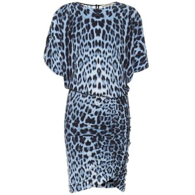 ロベルト カヴァリ Roberto Cavalli レディース ワンピース ワンピース・ドレス Leopard-print jersey minidress Cerulean/Black