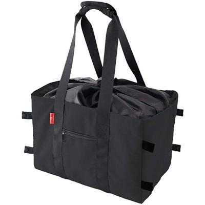 エコバッグ 大容量 コンパクト収納 折りたたみ 買い物かご レジカゴサイズ おしゃれ シンプルなデザイン 撥水加工(ブラック, M)