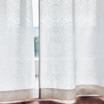 クロッシェレース柄のUVカット・遮熱・ミラーレースカーテン[日本製]