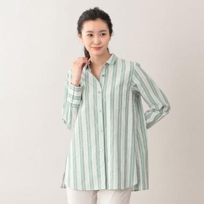 【L】【ウォッシャブル】DEVEAUXラメストライプシャツ
