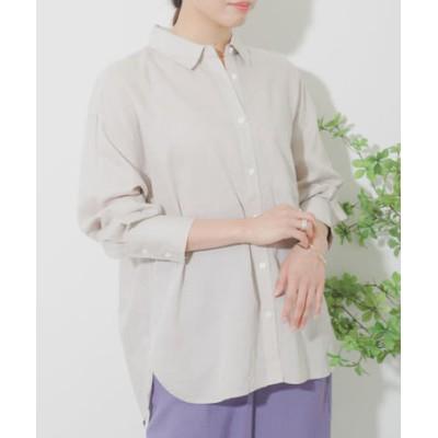 【FUDGE 5月号掲載】リネンレーヨン 2WAYルーズシャツ