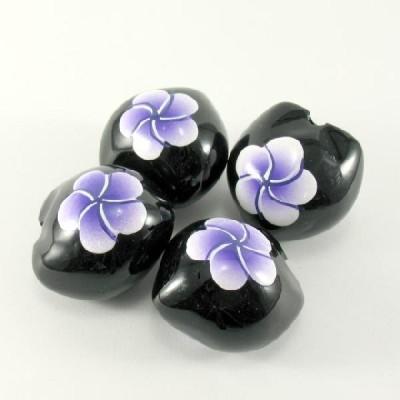 ククイの実(黒地に紫のプルメリア 4個セット)