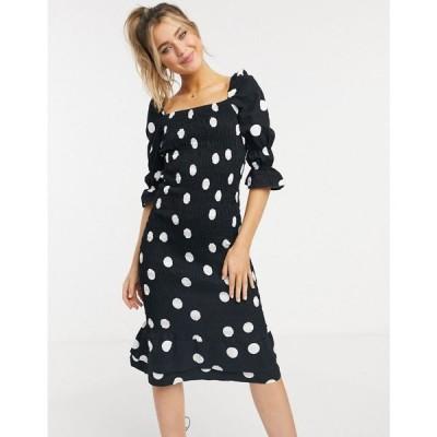 ネバーフリードレス Never Fully Dressed レディース ワンピース ミドル丈 ワンピース・ドレス shirred peplum hem midi dress in mono spot print