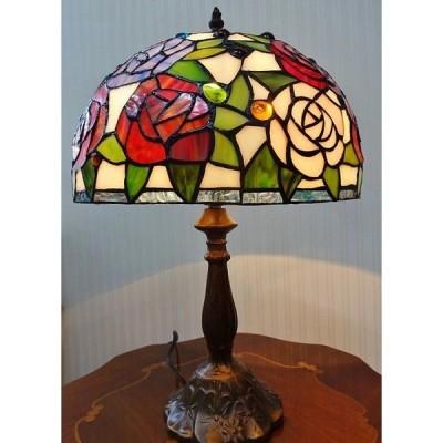 テーブルランプ 1灯式 ステンドグラス アンティーク調 薔薇 バラ LED対応 930-TL-010