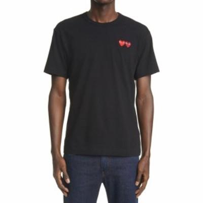 コム デ ギャルソン COMME DES GARCONS PLAY メンズ Tシャツ トップス Twin Hearts Slim Fit Jersey T-Shirt Black