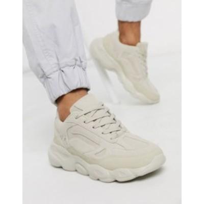 エイソス メンズ スニーカー シューズ ASOS DESIGN sneakers in stone with chunky sole Stone