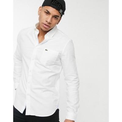ラコステ Lacoste メンズ シャツ ワイシャツ トップス button down collar oxford shirt in white ホワイト