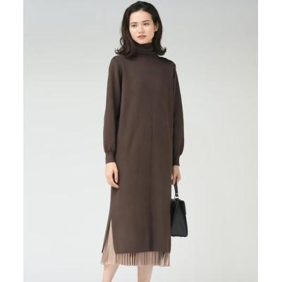 MAYSON GREY/メイソングレイ 【socolla】【WEB別注】プリーツスカート付きニットワンピース ブラウン M