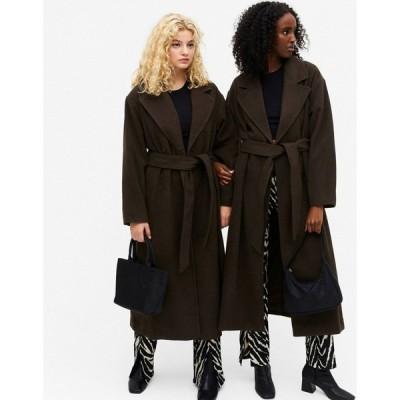 モンキ Monki レディース コート アウター Brix Oversized Coat With Belt In Brown ブラウン