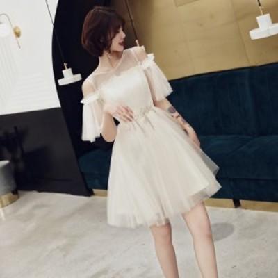 ドレス 結婚式 お呼ばれドレス 20代 パーティードレス ウェディングドレス ミニドレス フレアスカート 花嫁 二次会 チュール
