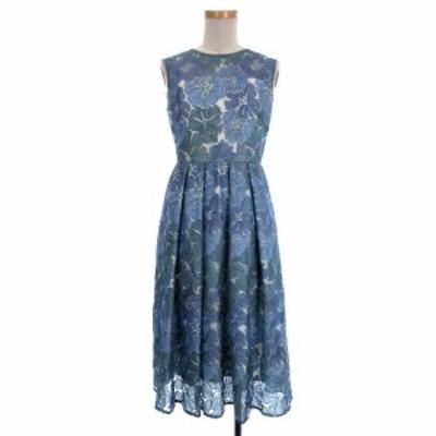 【中古】GRACE CONTINENTAL 19SS フラワー 刺繍 ワンピース ロング丈 花柄 19235048 34 青 ブルー レディース