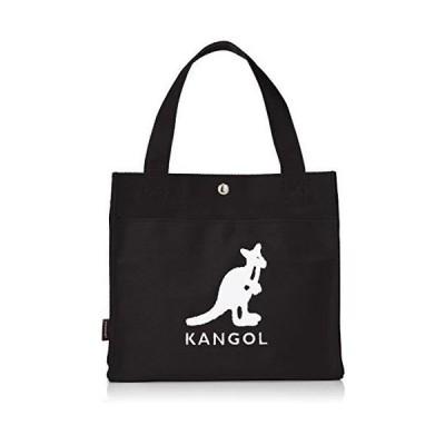 カンゴール トートバッグ KANGOLロゴもこもこサガラ刺繍 コットンキャンバス ブラック