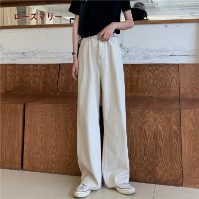 ローズマリー  韓国ファッション 🌸 Korea   新品販売  ハイウエスト ジーンズ  ストレートジーンズ  ヴィンテージ調  ベーシック  大人気  202005137