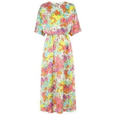 レ レヴェリズ Les Reveries レディース ワンピース ワンピース・ドレス Floral silk dress Kaleidoscope Garden White