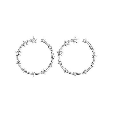 Bxzhiri Earrings for Women Silver Hoop Earrings Lady Star Shape Earrings Fashion Earrings Gold Hoop Earrings
