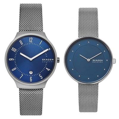 おしゃれ ペアギフト 大人の ペアウォッチ スカーゲン 腕時計 青 ブルー文字盤 シルバー メッシュ 友達 夫婦 両親 プレゼント