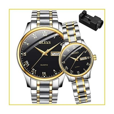 OLEVS His and Her Couple Watches Business Men Women Couple Set Pair Black Watch Matching Romantic Quartz Stainless Steel Waterproof Date並