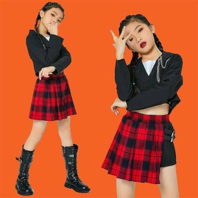 キッズ ダンス衣装  ヒップホップ ダンス 子供 HIPHOP 2点セット長袖  セットアップ ジャズダンス 韓国 応援団 チア ステージ衣装 へそ出し 練習着