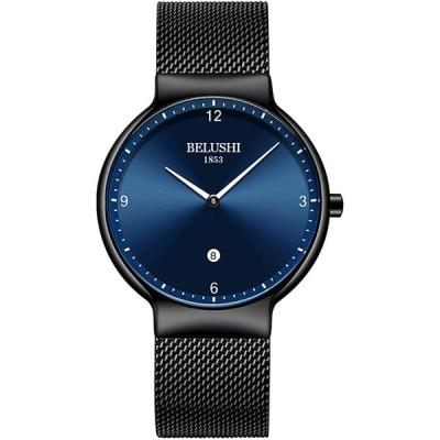 Men's Ultra-Thin Watch, Quartz Watch,Blue/Black Face Black Mesh Band B
