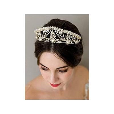 ティアラ・ヘアアクセサリー SWEETV Tiaras and Crowns for Women, Pearl Wedding Tiara for Bride, Anastasi 並行輸入品