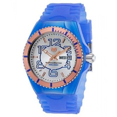 テクノマリン 腕時計 メンズスウォッチ Technomarine Tm-115146 Men's Cruise Jellyfish Blue Silicone Silver-Tone Dial Rose-Tone Bezel Watch