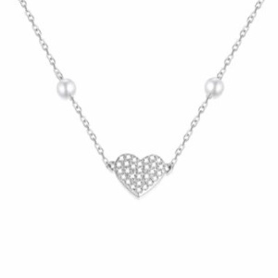 14k White Gold Heart Necklace for Women, Real Gold Pearl Love Choker Jewelry for Wife/Girlfriend, Gift for Her, 14-18 Inch