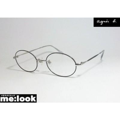 agnes b. アニエス・ベー レディース ラウンド クラシック 眼鏡 メガネ フレーム 50-0054-3 サイズ50 度付可 トップグレイ クロームグレイ