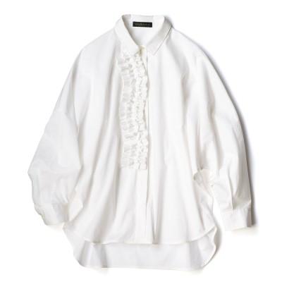 フリルディテール シャツ オフホワイト 3LL−3L