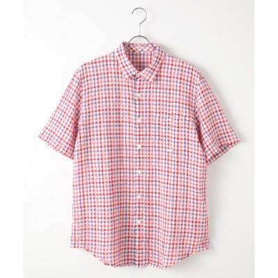 PAPAS/パパス サッカーチェックシャツ アカ×ラベンダー S